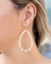 Jordan Beaded Hoops - Cream