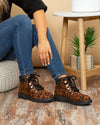 Josie Leopard Hiking Boots - Whiskey