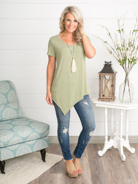 Sincerely Asymmetrical Top - Sage
