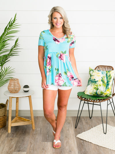 Radiant Rose Top - Turquoise