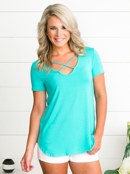 Just Can't Wait Cross Top - Turquoise