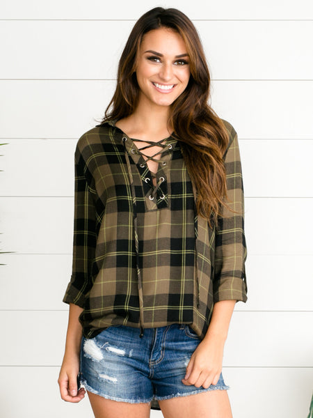 Pay It Forward Plaid Tunic - Olive