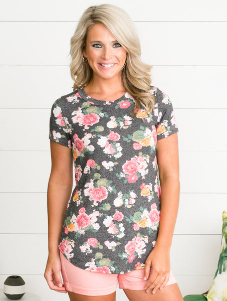 Forever Floral Top - Charcoal