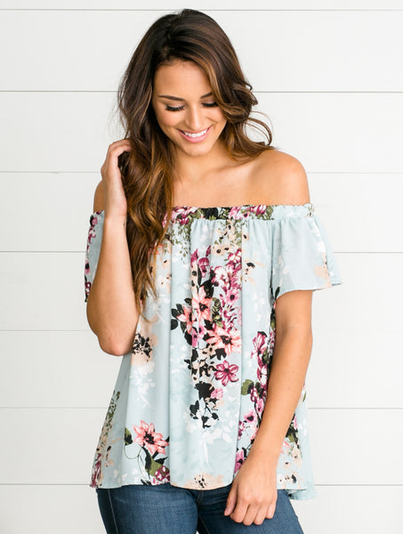 Savannah Bloom Off-Shoulder Top - Tiffany Blue