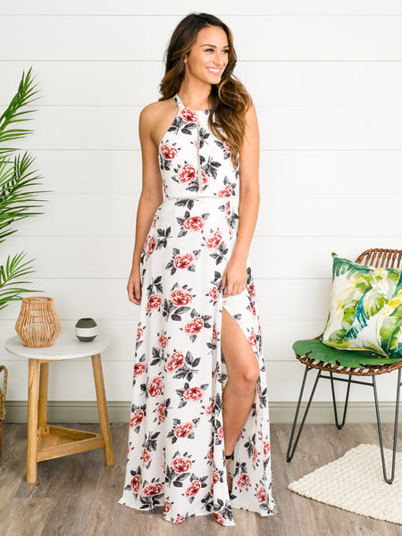 Beneath The Stars Floral Maxi Dress - Off White