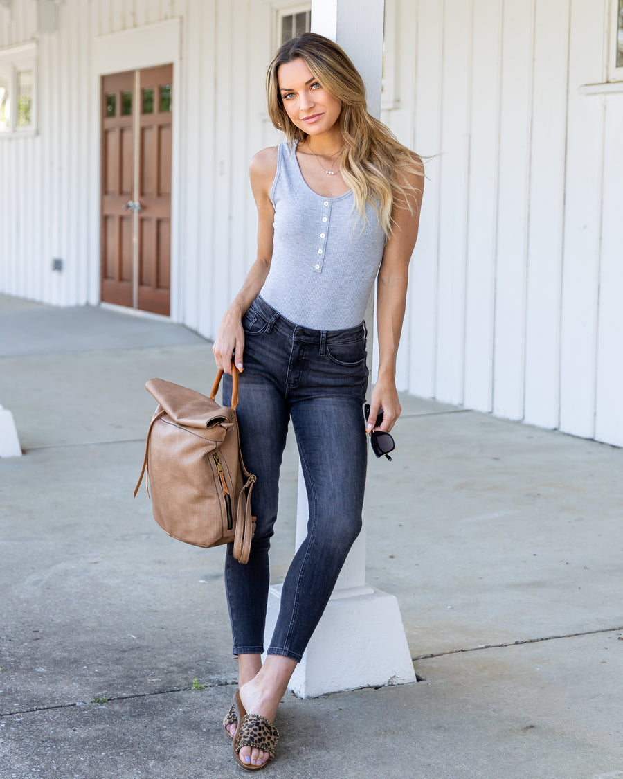 Just A Day Out Bodysuit - Heather Grey