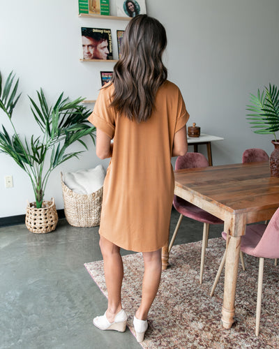 Just Roll With It Dress - Camel