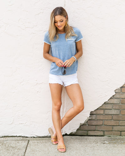 Just Stopping By Top - Denim Blue