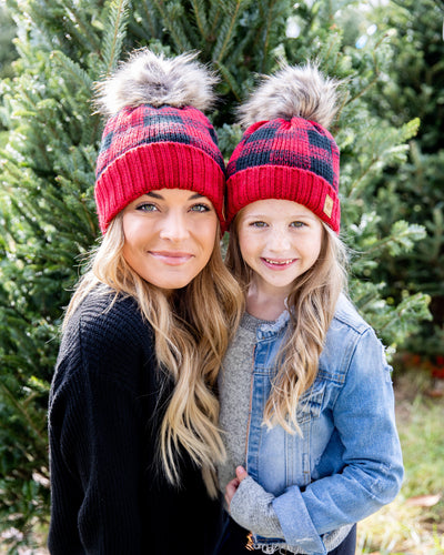 Just Warming Up Plaid Beanie - Red/Black