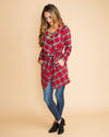 Just In Time Plaid Coat - Red
