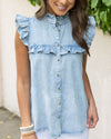 Kamryn Button Down Denim Top - Light Wash