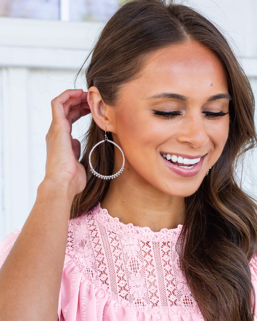 Katie Statement Earrings - White