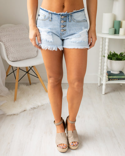 Keaton Distressed Shorts - Light Wash