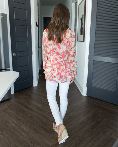 Keep Blossoming Top - Coral
