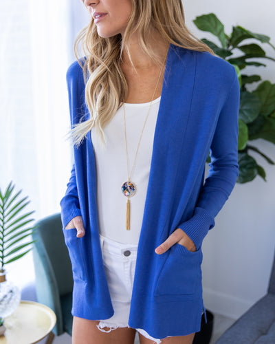 Keep My Word Cardigan - Cobalt