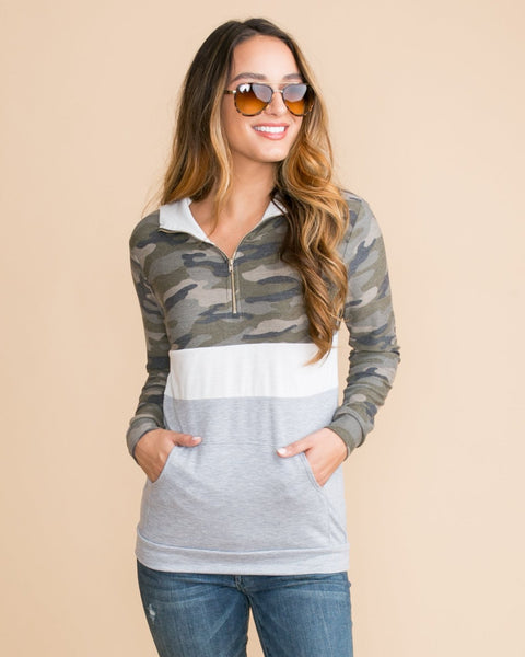 Keep It Cool Color-Block Pullover - Camo