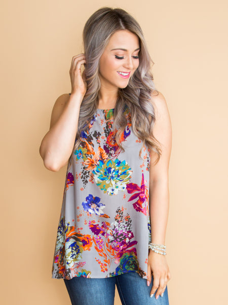 Keep The Peace Floral Top - Grey