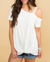 Keep This Love One Shoulder Waffle Knit Top - Off White