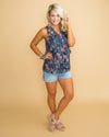 Keep This Promise Floral Tank - Navy