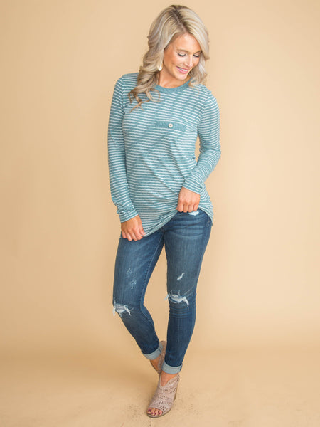 Keep This Secret Stripe Top - Heather Blue