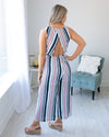 Key West Cutie Open Back Scallop Jumpsuit - Navy Multi