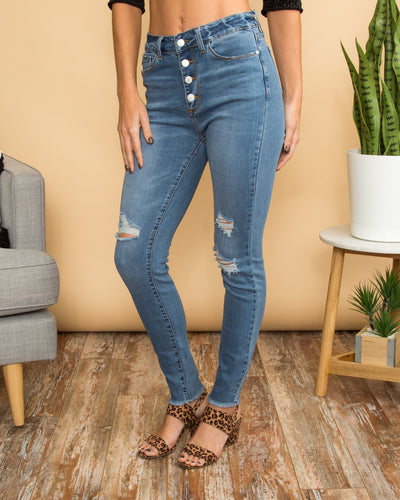 Kira Distressed Skinny Jeans - Light Wash