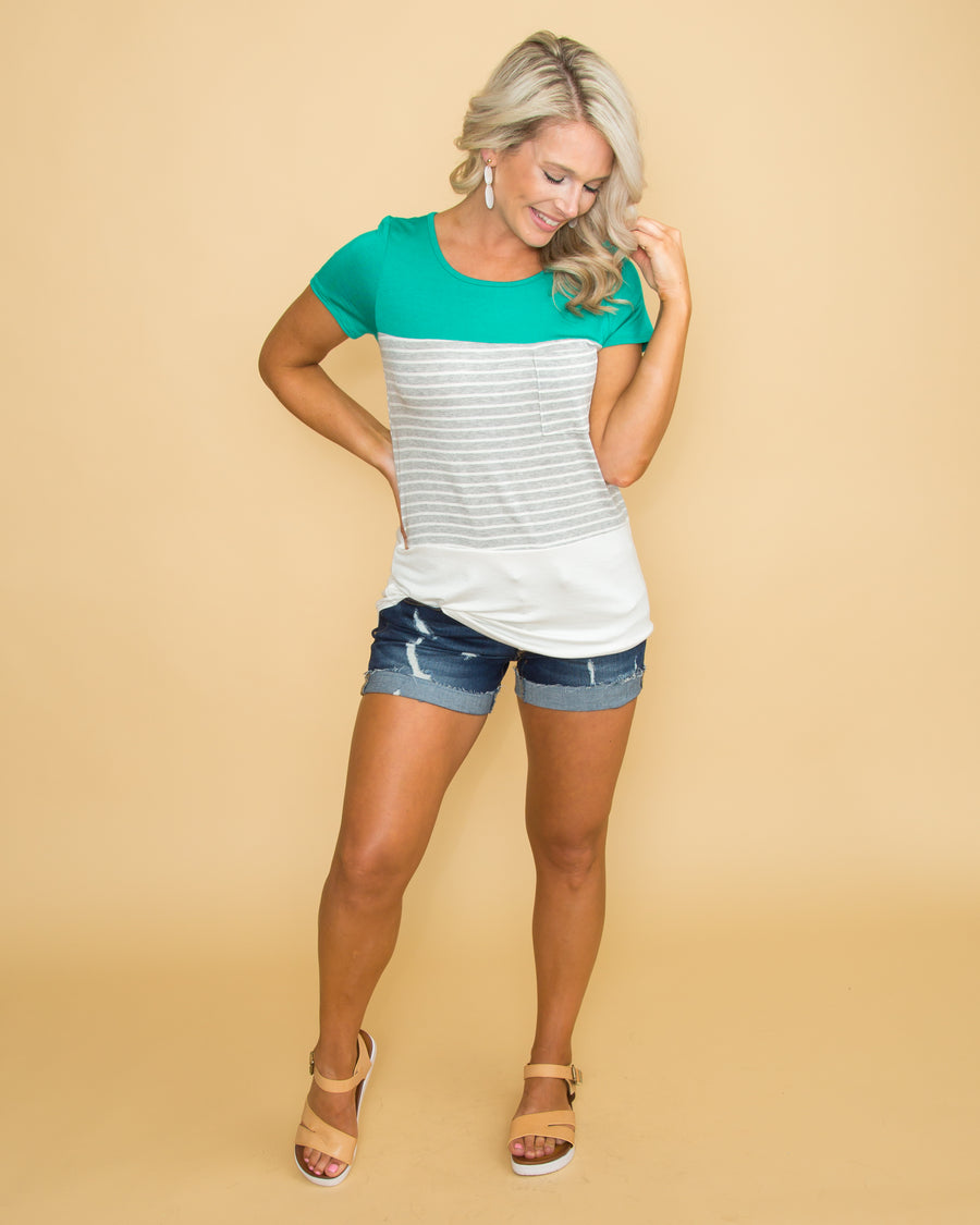 Kiss And Tell Color-Block Top - Jade