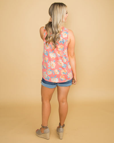 Kissed By Sunshine Floral Criss Cross Tank - Coral