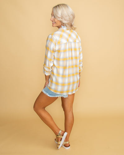 Know Your Heart Plaid Button Up - Yellow Multi