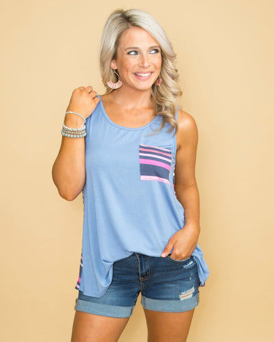 Know Your Worth Color-Block Stripe Pocket Tank - Dusty Blue