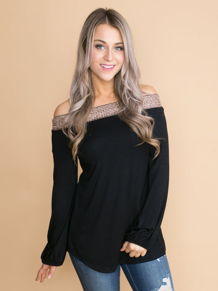 Knowing Your Heart Off-The-Shoulder Top - Black