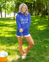 Lake Days & Boat Waves Pullover - Royal Blue