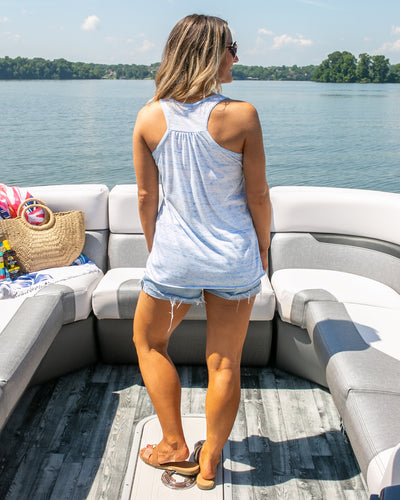Lake It Easy Graphic Tank - Heather Blue