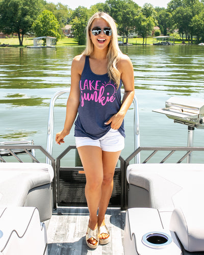 Lake Junkie Graphic Tank - Heather Navy