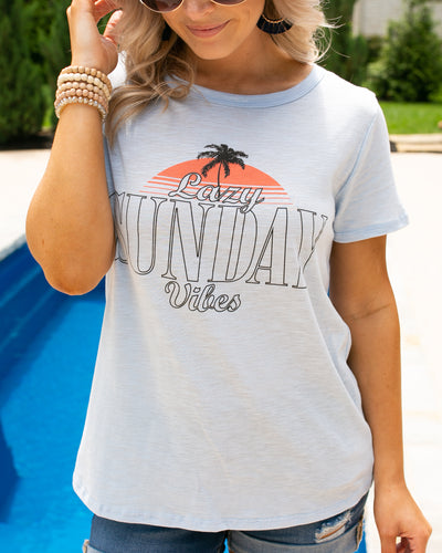 Lazy Sunday Graphic Tee - Lt Blue