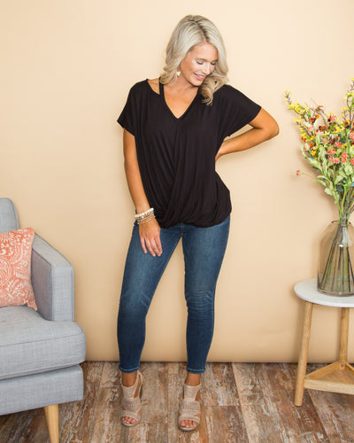 Leave It In The Past Crossover Cutout Top - Black
