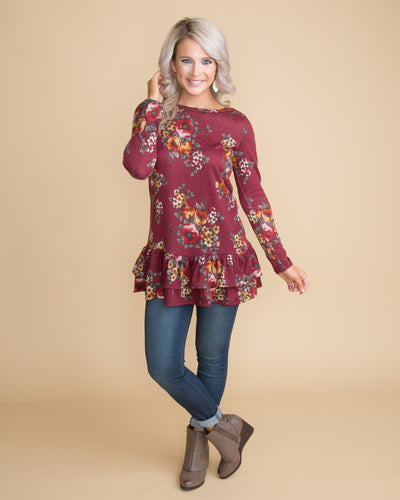 Leaves Are Falling Floral Ruffle Top - Sangria