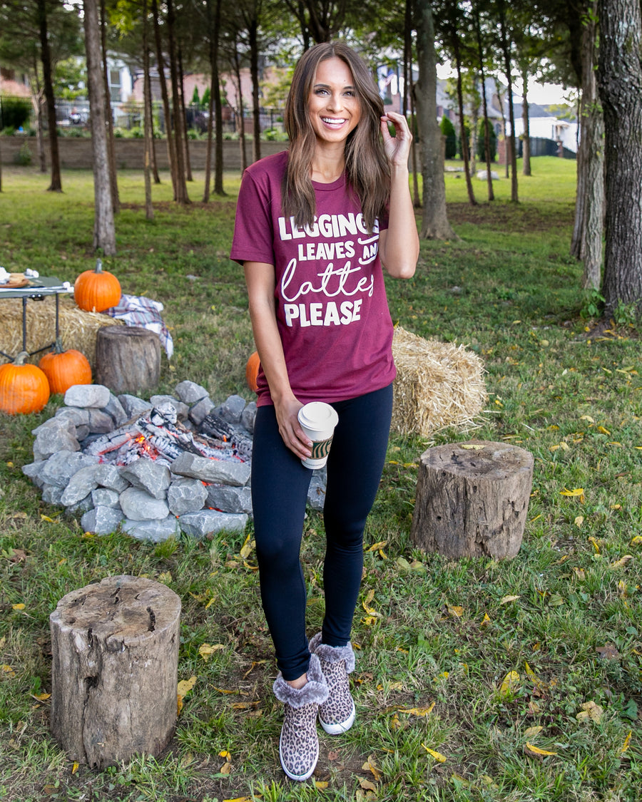 Leggings, Leaves, And Lattes Graphic Tee - Wine