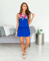 Let The Fun Begin Romper - Cobalt