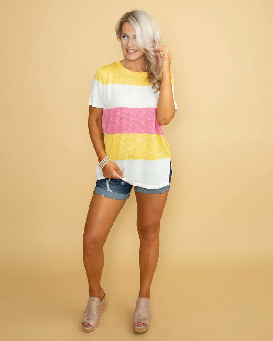 Let The Sun Shine Color-Block Top - Yellow Multi
