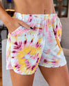 Let's Just Chill Shorts - Tie Dye