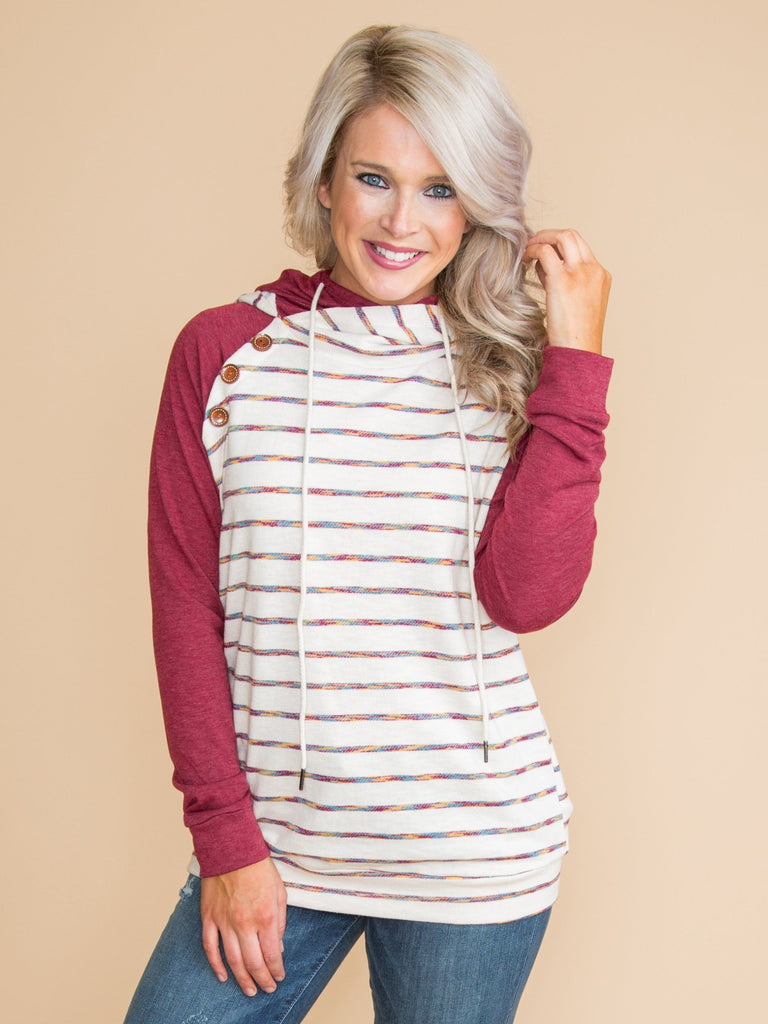 Let's Change It Up Stripe Pullover - Red