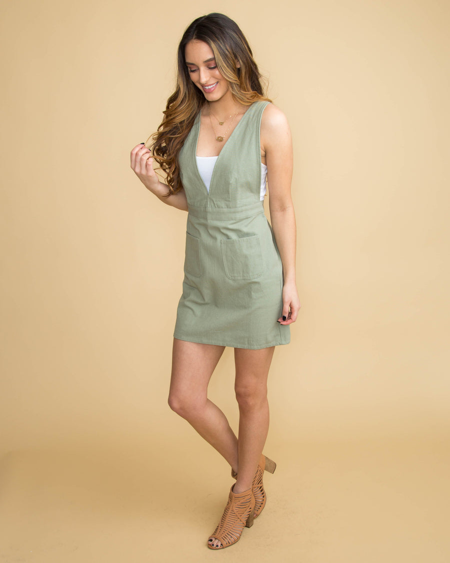 Let's Have Some Fun Overall Dress - Olive