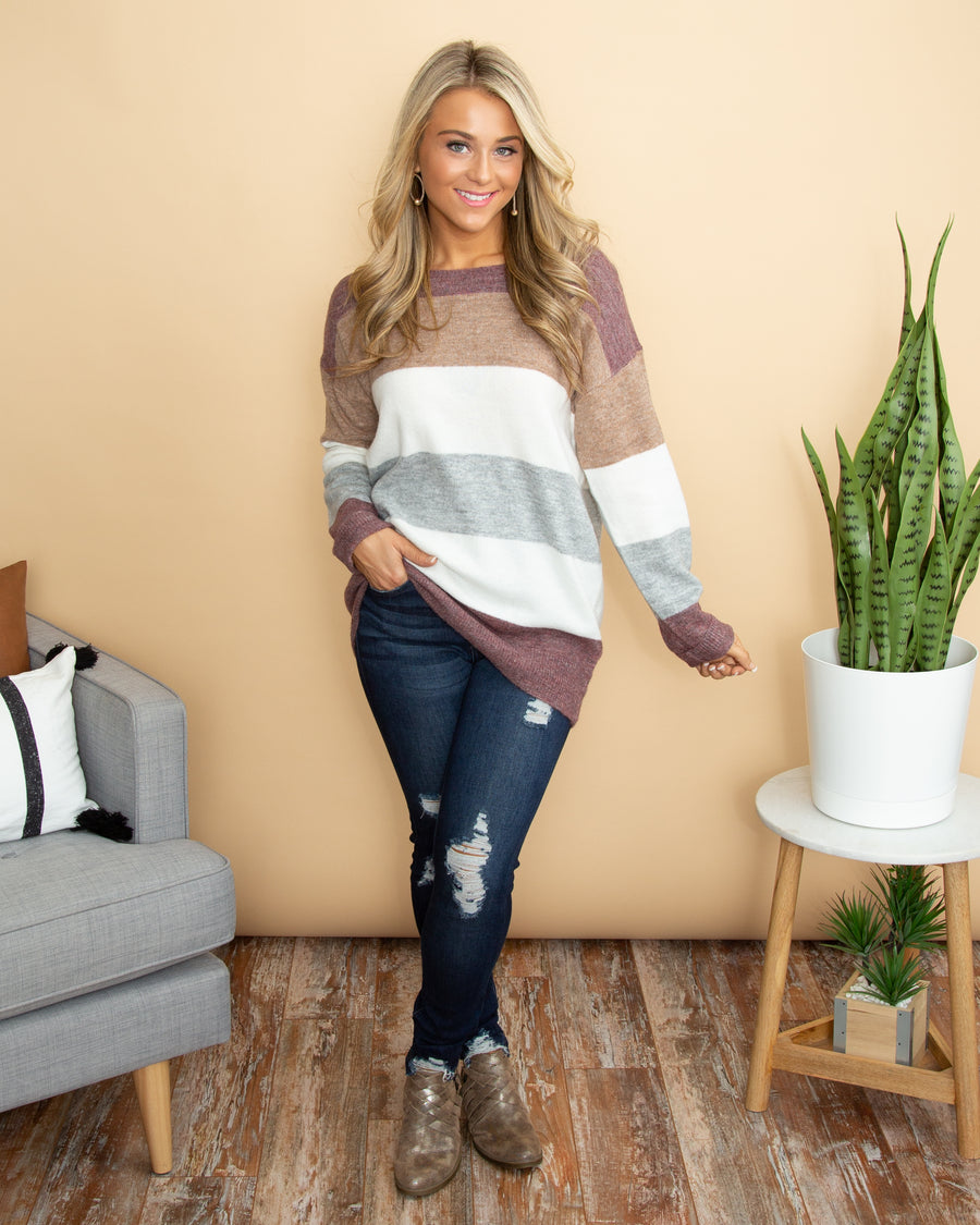 Let's Make Plans Sweater - Plum