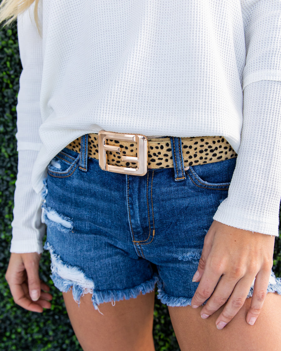 Lexie Cheetah Print Belt - Tan