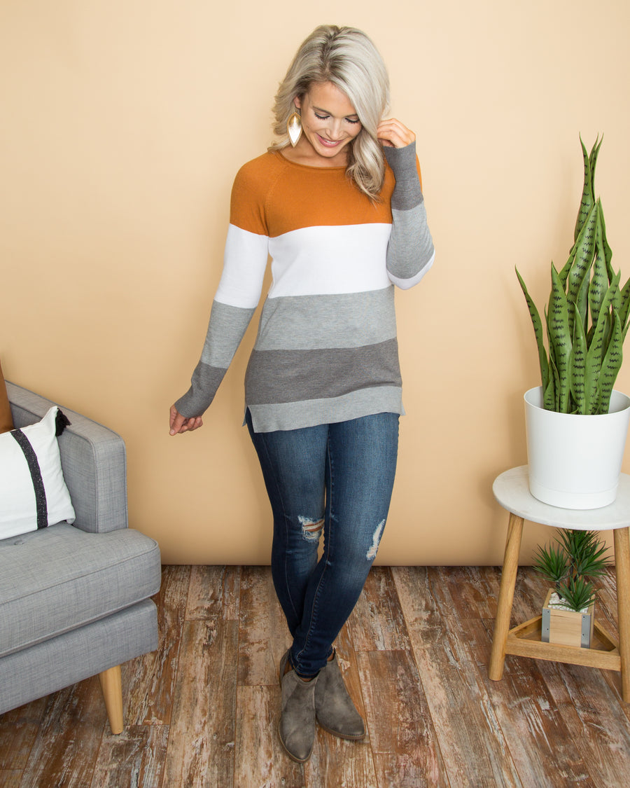 Lift My Spirits Sweater - Burnt Orange