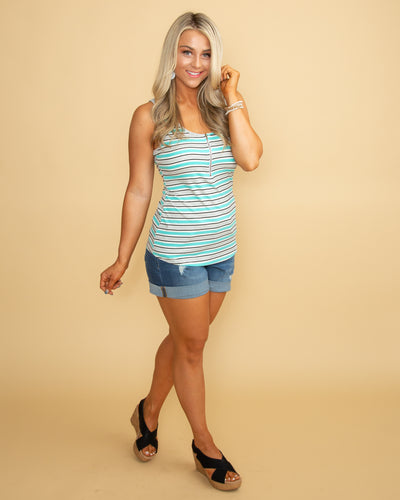 Lighthearted Love Stripe Ribbed Zipper Tank - Multi