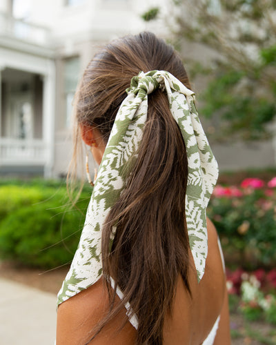 Lila Floral Hair Scarf - Sage