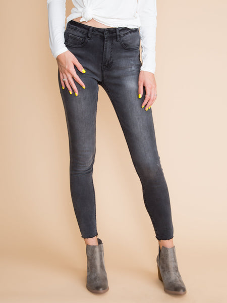 Liliane Faded Fray Skinny Jeans - Grey