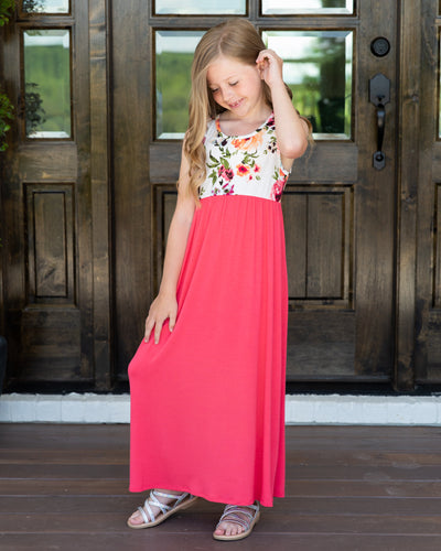 Little Can't Wait For Vacay Maxi Dress - Coral